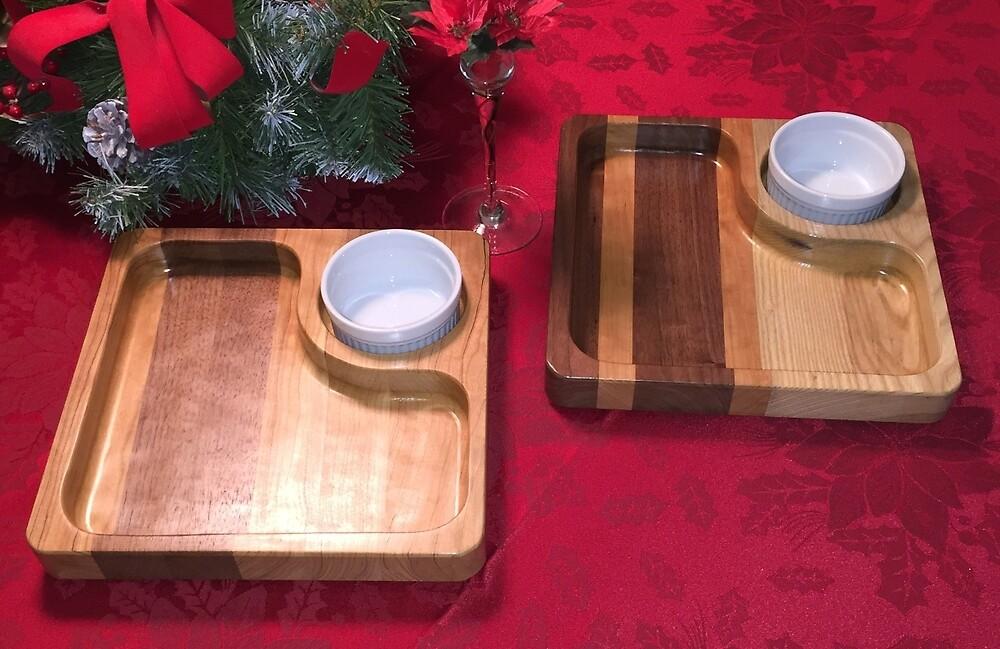 Chip & Dip Trays with Porcelain Ramekins by Robert's Woodworking Studio