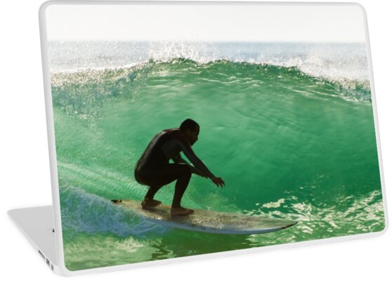 Long boarder surfing the waves at sunset by homydesign