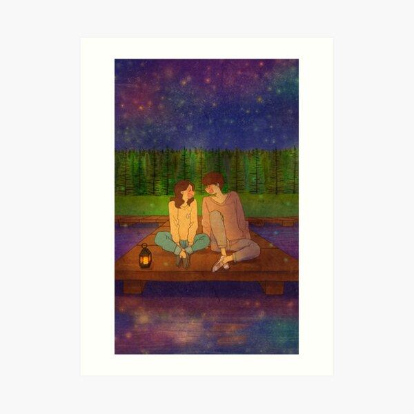 By the lake at night Art Print