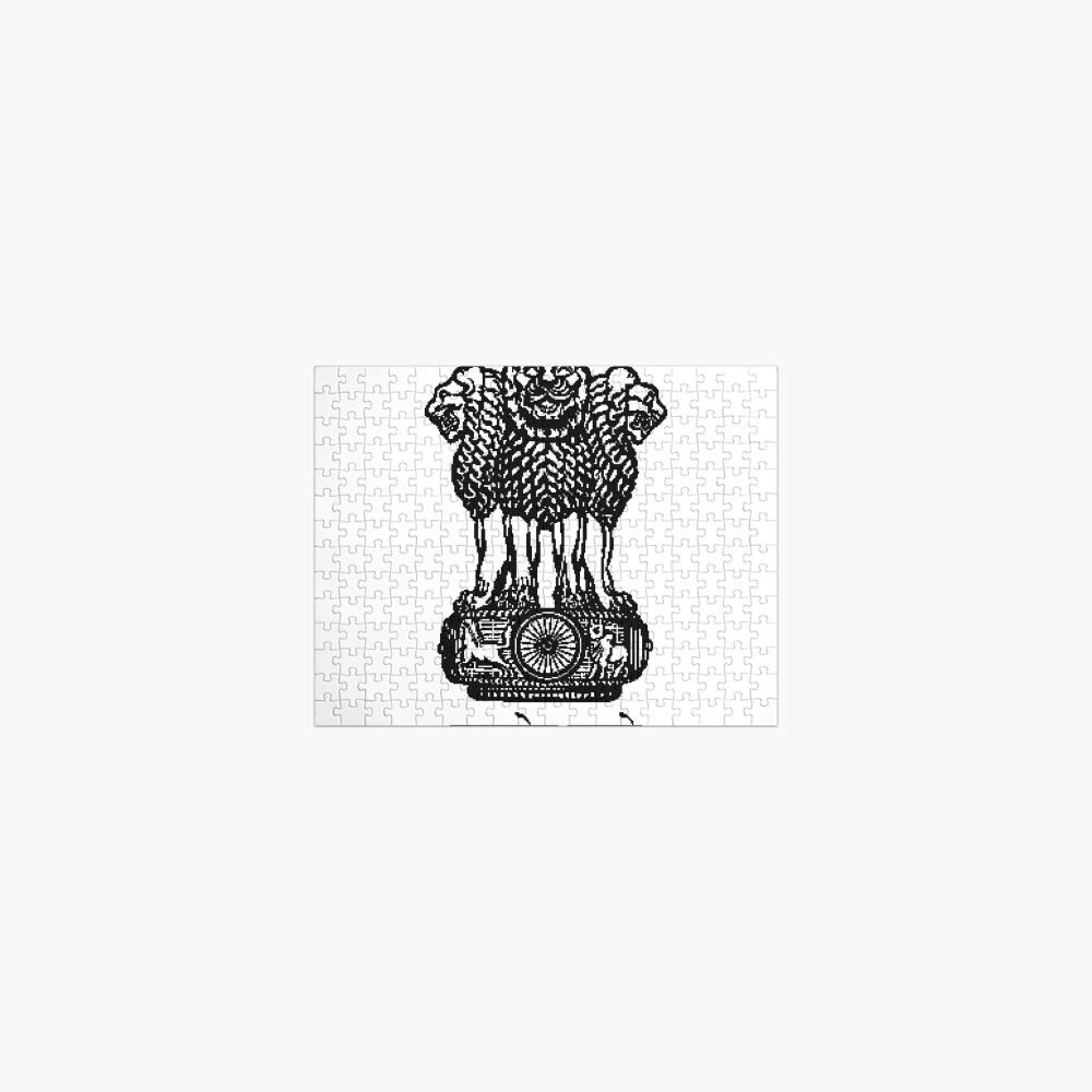 State Emblem of India #StateEmblemofIndia #StateEmblem #illustration #design #art #floral #crown #decoration #symbol #vintage #animal #pattern #frame #ornament #shield #lion #drawing #white #royal Jigsaw Puzzle