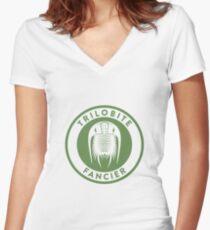 Trilobite Fancier (green on white) Women's Fitted V-Neck T-Shirt