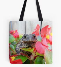 Adorable Toad with little red flowers. Tote Bag
