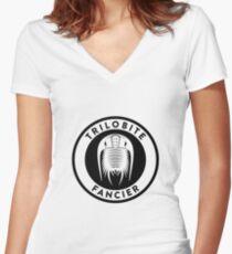 Trilobite Fancier (black on light) Women's Fitted V-Neck T-Shirt