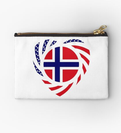 Norwegian American Multinational Patriot Flag Series 2.0 Zipper Pouch