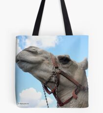 Happy Camel gazing up at the clear blue sky. Tote Bag