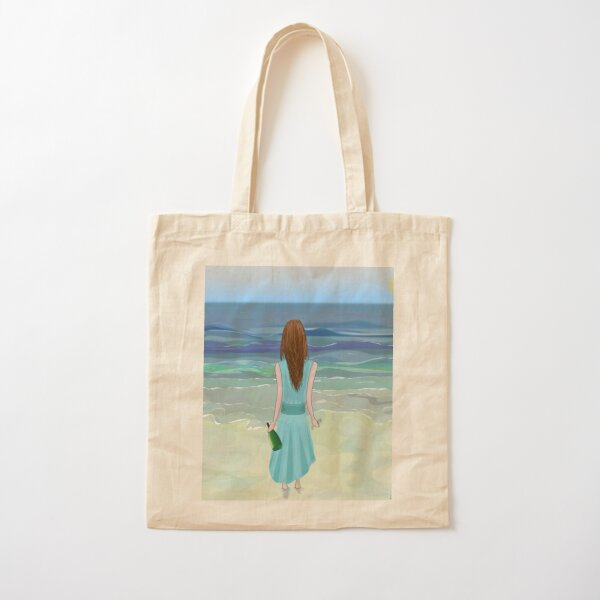 Woman Standing in Front of the Ocean with Bottle of Champagne and a Glass Cotton Tote Bag