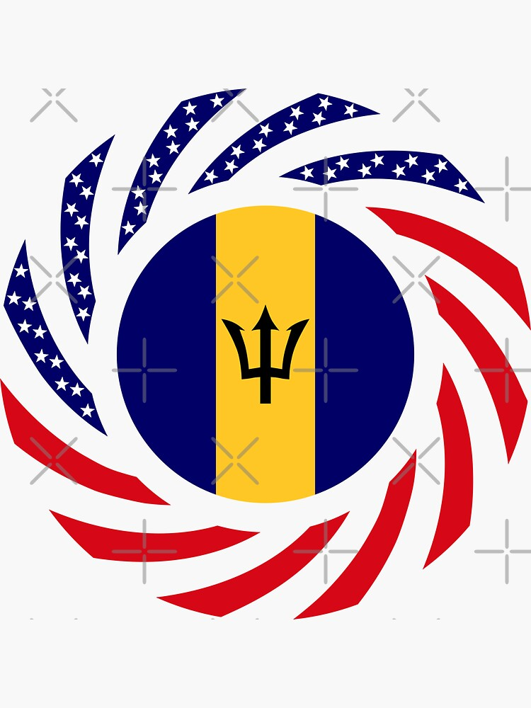 Barbadian American Multinational Patriot Flag Series by carbonfibreme