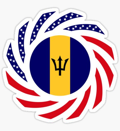 Barbadian American Multinational Patriot Flag Series Sticker