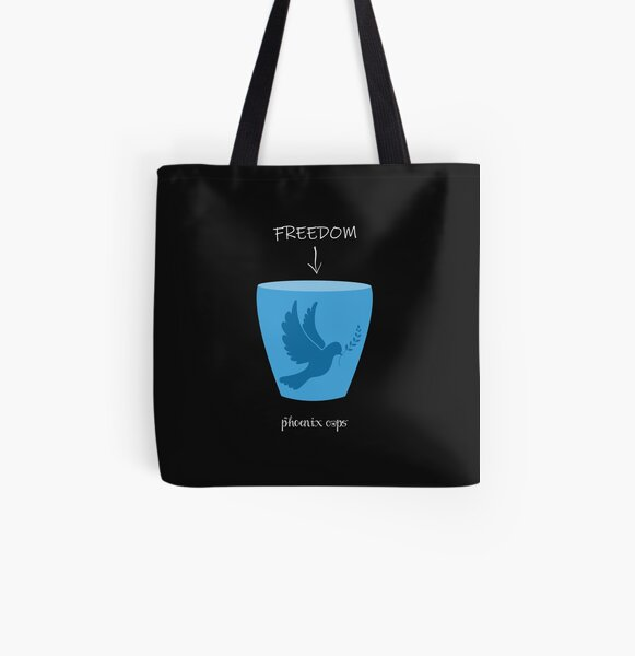 Freedom Cup - white text All Over Print Tote Bag