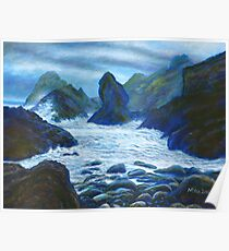Acrylic painting, Rocky seascape art Poster