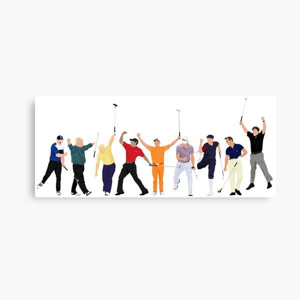 Golf Legends, Brooks Koepka, John Daly Jack Nicklaus, Tiger Woods, Rickie Fowler, Justin Thomas, Payne Stewart, Arnold Palmer and Phil Mickelson Canvas Print