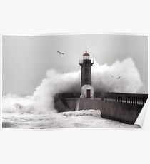Storm at the Lighthouse Poster