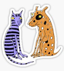 Opposites Attract Cat and Dog Sticker