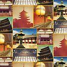 Traditional Japanese Architecture Nara Kyoto Collage 1 by Beverly Claire Kaiya