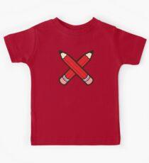Pencil Power Red Pattern Kids Tee
