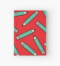 Pencil Power Red Pattern Hardcover Journal