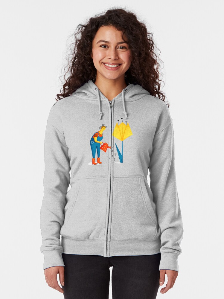 Alternate view of Plant mom at work Zipped Hoodie
