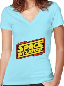 LASER SWORD SPACE WIZARDS Women's Fitted V-Neck T-Shirt