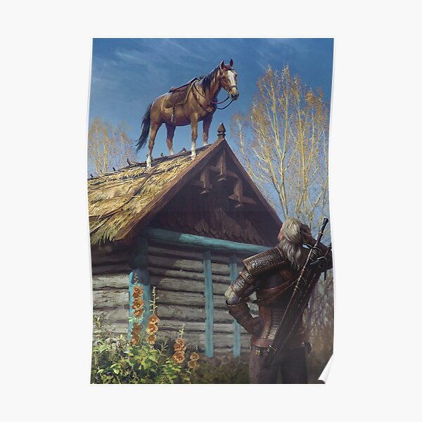 Witcher 3 Roach Graphic, Roach on the roof Poster