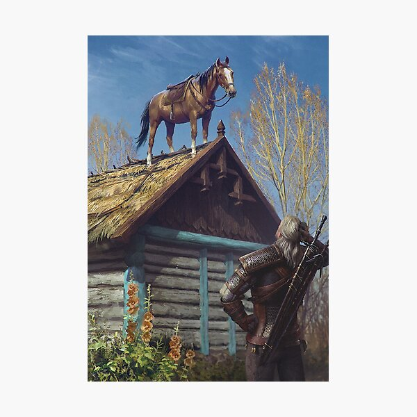 Witcher 3 Roach Graphic, Roach on the roof Photographic Print