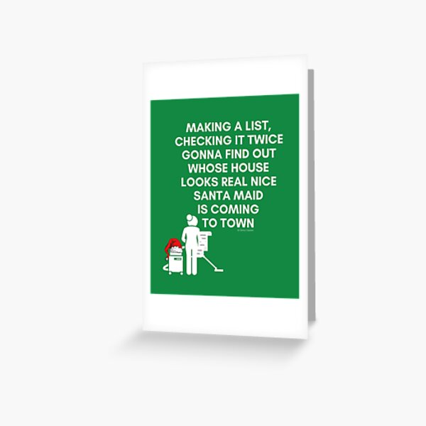 Santa Maid, Cleaning Crew, Housekeeping Humor Christmas Greeting Card