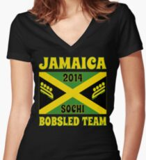 2014 Jamaican Bobsled Team Sochi Olympics T Shirt Women's Fitted V-Neck T-Shirt