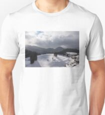 Snowstorm in the Sun - Dancing Snowflakes, Moody Clouds, Long Shadows T-Shirt
