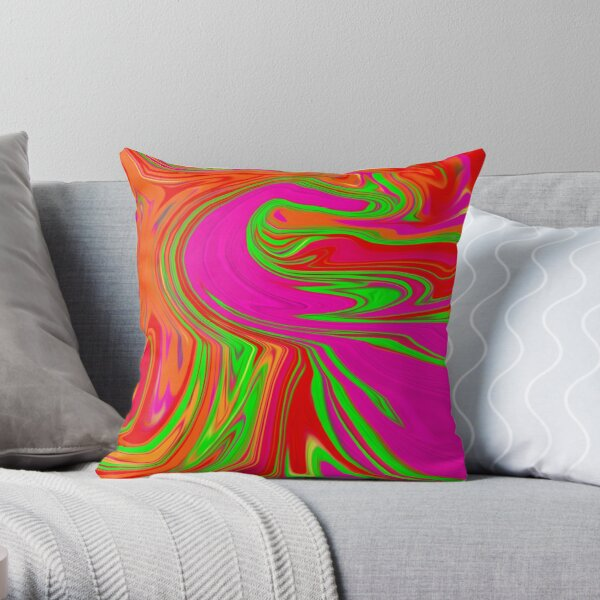 Orange, Pink and Lime Green Swirl Throw Pillow