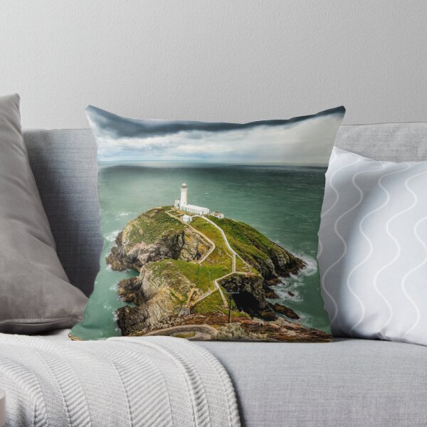 South Stack Lighthouse Anglesey Throw Pillow