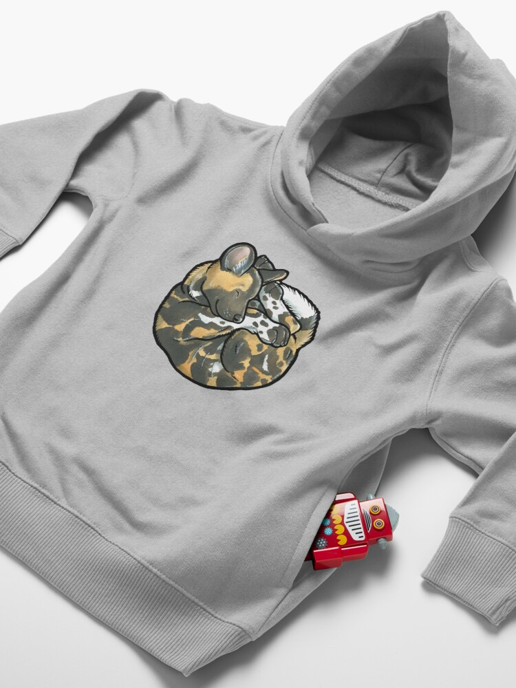 Alternate view of African Wild Dog pup Toddler Pullover Hoodie