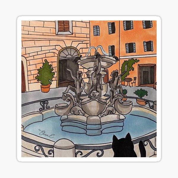 Journal of a Cat in Rome - Fontana delle Tartarughe Sticker