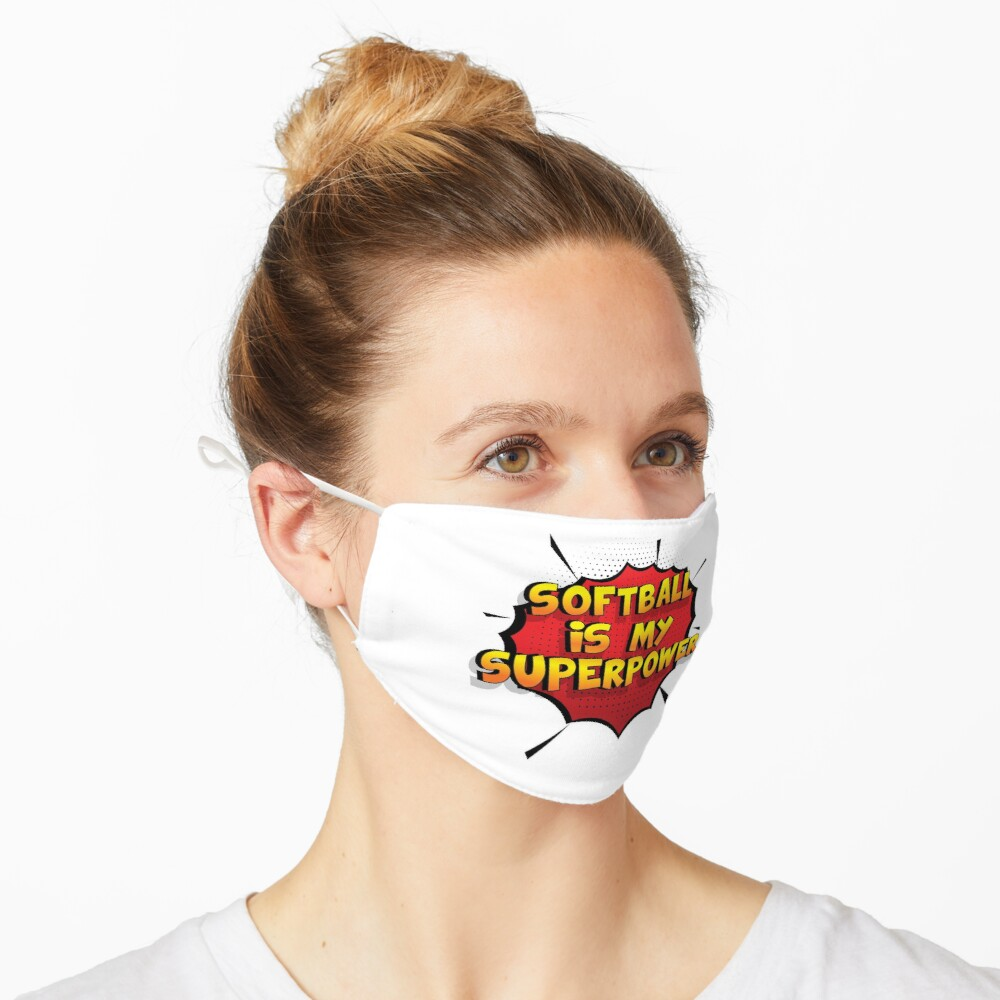 Softball ist mein Superpower Lustiges Softball Designgeschenk Maske