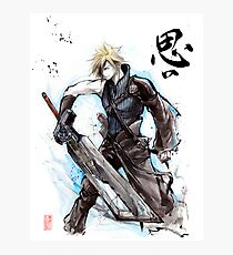 Cloud from Final Fantasy game with Japanese calligraphy Photographic Print