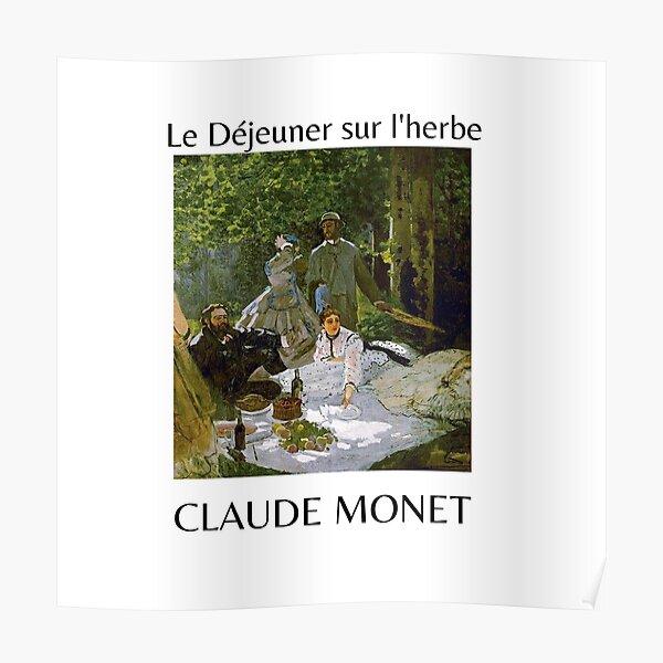 Le Déjeuner sur l'herbe Claude Monet Painting Art  Poster