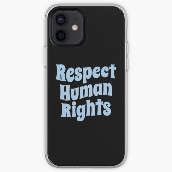 Respect Human Rights (Inspirational and Motivational Political Quote • Vintage Classic 70's Look • Light Blue) iPhone Soft Case