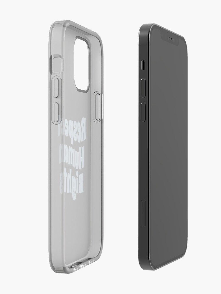 Alternate view of Respect Human Rights (Inspirational and Motivational Political Quote • Vintage Classic 70's Look • Light Blue) iPhone Case & Cover
