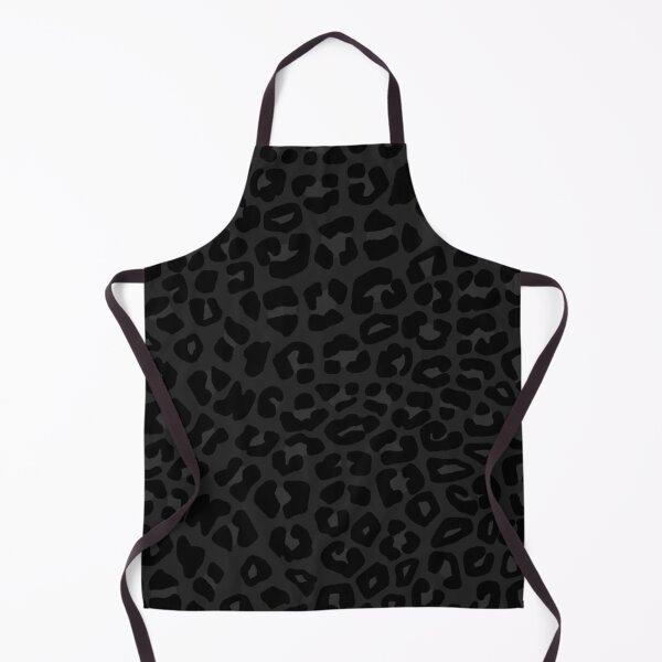 Leopard Print Pattern in Black, Charcoal Grey Apron