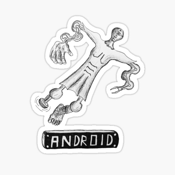 """Android"" Robot Humanoid Ink illustration Sticker"