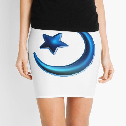 Islam: The Crescent Moon and Star - Ocean Blue Mini Skirt