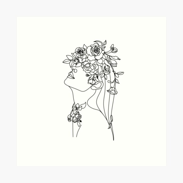 One line face, illustration. Minimalist Woman Art.Abstract face with butterfly by one line drawing. Portrait minimalistic style. Botanical print. Nature symbol of cosmetics. Modern continuous line art Art Print