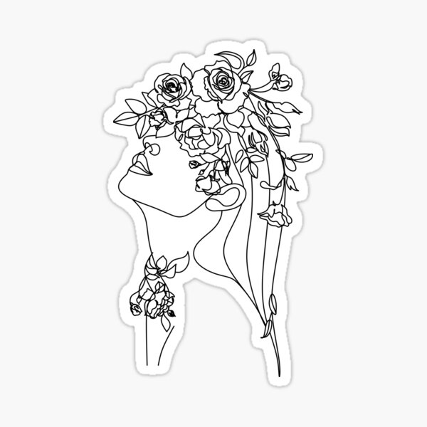 One line face, illustration. Minimalist Woman Art.Abstract face with butterfly by one line drawing. Portrait minimalistic style. Botanical print. Nature symbol of cosmetics. Modern continuous line art Sticker