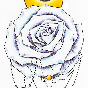 White Rose Dreamcatcher Moon Star by chelsiemarie