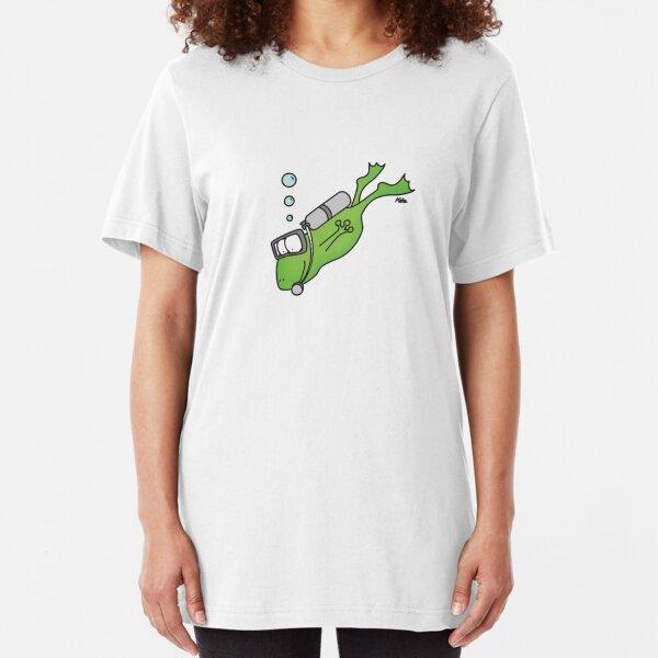 Freddie der Frosch liebt das Tauchen und Schnorcheln Slim Fit T-Shirt