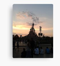 Sunset Over Castle And Park Canvas Print