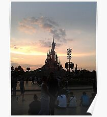 Sunset Over Castle And Park Poster