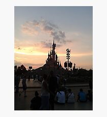 Sunset Over Castle And Park Photographic Print