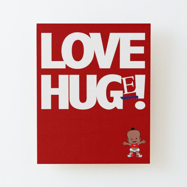 PBTEEZ RB1274 Love Hug(e) girl 9 Red Wood Mounted Print