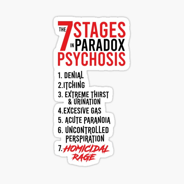 UMBRELLA ACADEMY 2: THE 7 STAGES IN PARADOX PSYCHOSIS (WHITE) Pegatina