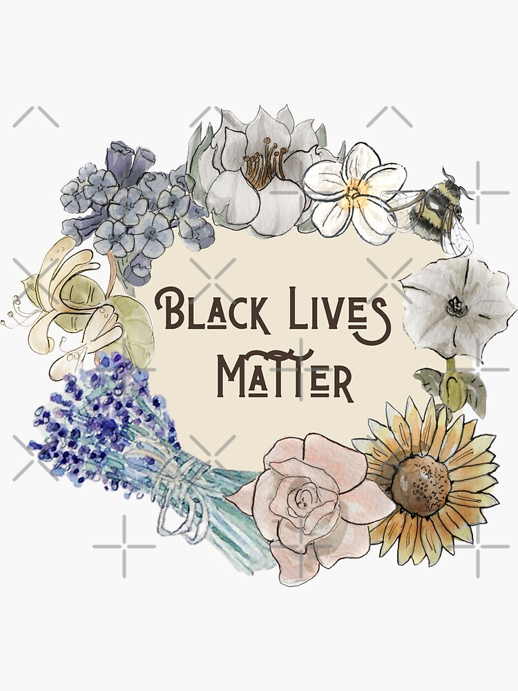 Black Lives Matter in Floral Wreath Illustration in Watercolor by WitchofWhimsy