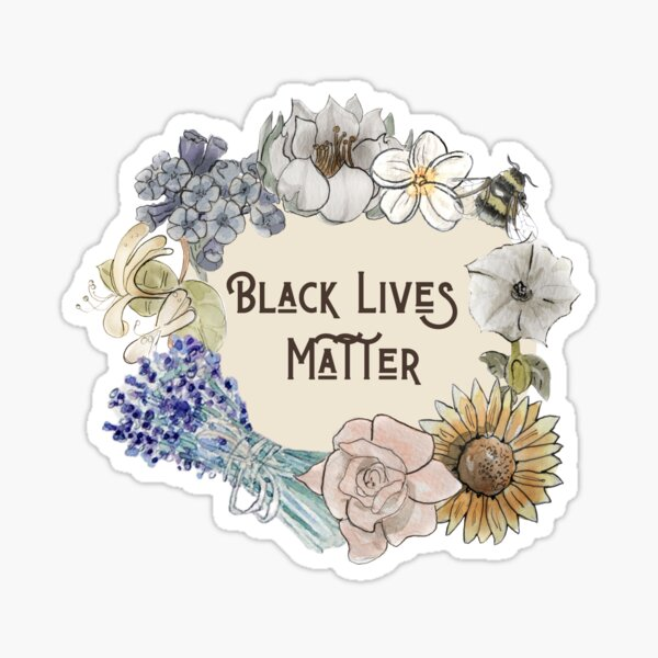 Black Lives Matter in Floral Wreath Illustration in Watercolor Sticker